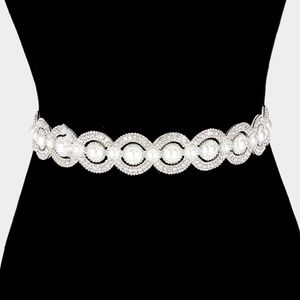 Pearl embellished rhinestone sash ribbon belt ivor